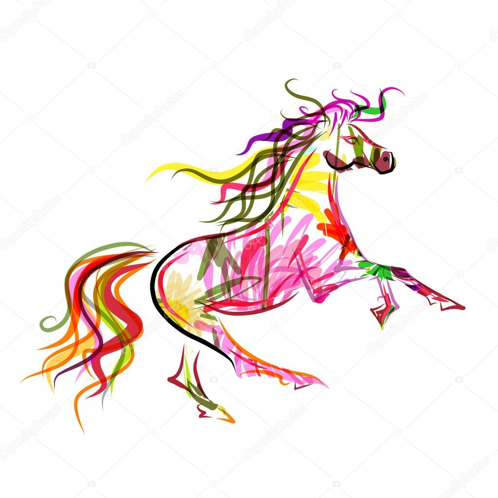 Color Year of The Horse Horse Sketch Colorful For Your