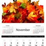 Floral calendar 2014, november — Stock Vector #33022761