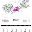 Calendar 2014, march. Streets of the city, sketch for your design — Stockvectorbeeld