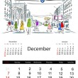 Stock Vector: Calendar 2014, december. Streets of the city, sketch for your design