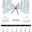 Calendar 2014, january. Streets of the city, sketch for your design — Stock Vector