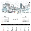 Stock Vector: Calendar 2014, april. Streets of the city, sketch for your design