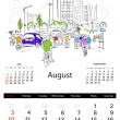 Stock Vector: Calendar 2014, august. Streets of city, sketch for your design