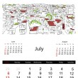 Calendar 2014, july. Streets of the city, sketch for your design — Stock Vector