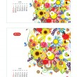 Floral calendar 2014, june. Design for two size of paper — Imagen vectorial