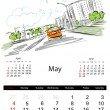 Stock Vector: Calendar 2014, may. Streets of city, sketch for your design