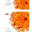 Floral calendar 2014, october. Design for two size of paper — Stock Vector