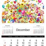 Floral calendar 2014, december — Stock Vector