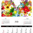 Floral calendar 2014, july — Stock Vector