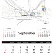 Calendar 2014, september. Streets of the city, sketch for your design — Stock Vector #33022801