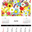 Floral calendar 2014, june — Stock Vector #33022821