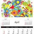 Floral calendar 2014, april — Stock Vector