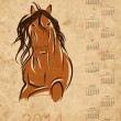 Stock Vector: Calendar 2014, horse sketch on grunge paper