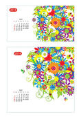 Floral kalender 2014, april. design für zwei größe papier — Stockvektor