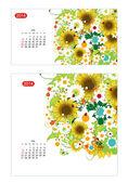 Calendario floral 2014. diseño de dos tamaños de papel — Vector de stock