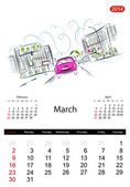 Calendar 2014, march. Streets of the city, sketch for your design — Stock Vector
