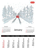 Calendar 2014, january. Streets of the city, sketch for your design — Cтоковый вектор