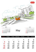 Calendar 2014, may. Streets of the city, sketch for your design — Stock Vector