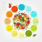 Calendar 2014 with four season bouquet for your design — Stock Vector