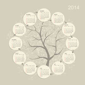 Calendar grid 2014 for your design — Stock Vector
