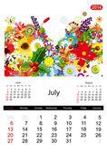 Calendario floral 2014, julio — Vector de stock