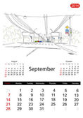 Calendar 2014, september. Streets of the city, sketch for your design — Stock Vector