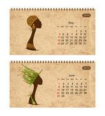 Calendario 2014 con perfil femenino en grunge de papel. mayo y junio — Vector de stock