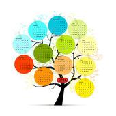 Tasarımınız için takvim ağaç 2014 — Stok Vektör