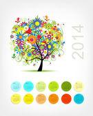 あなたのデザインの 4 つの季節ツリー 2014年をカレンダーします。 — ストックベクタ