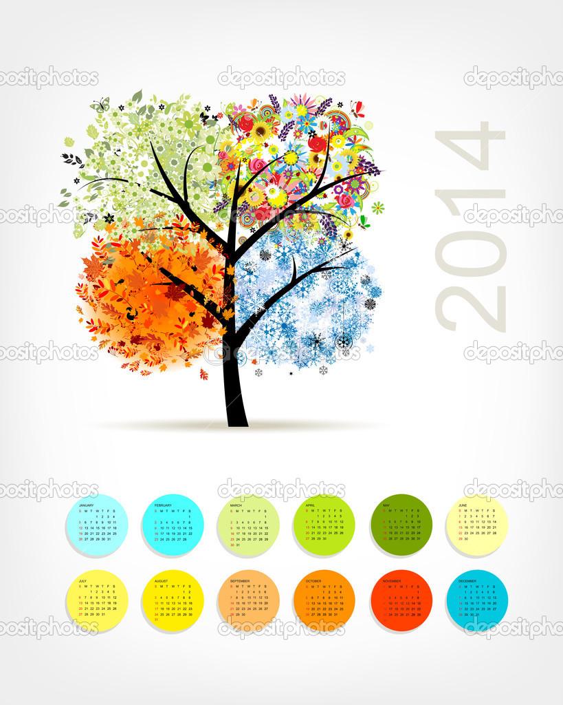 Kalender van 2014 met vier seizoen boom voor uw ontwerp stockvector kudryashka 33023645 - Boom ontwerp ...