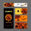 Invitation cards for halloween party for your design — Imagen vectorial