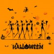 Halloween holiday, young witches for your design — Image vectorielle