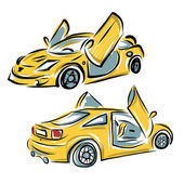 Yellow sport car with lamba doors for your design — Stock Vector