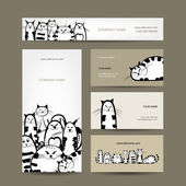 Corporate business cards design with funny striped cats — Stok Vektör