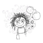 Curly girl sketch with balloons for your design — Stock Vector
