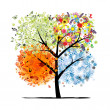 Four seasons - spring, summer, autumn, winter. Art tree beautiful for your design — Векторная иллюстрация
