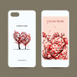 Mobile phone cover back and screen, love tree for your design — Stock Vector