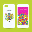Mobile phone cover back and screen, floral tree for your design — Stock Vector
