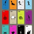 Mobile phone cover back , 12 funny animals for your design — Stock Vector