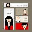 Business cards design with asian girls — Stock Vector