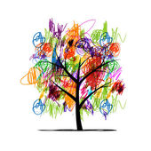 Abstract tree with children paintings — Stock Vector