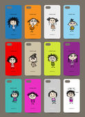 Mobile phone cover back , 12 funny girls for your design — Stock Vector