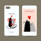 Mobile phone cover back and screen, love cats for your design — Stock Vector