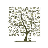 Árvore de arte com dispositivos para seu projeto — Vetor de Stock