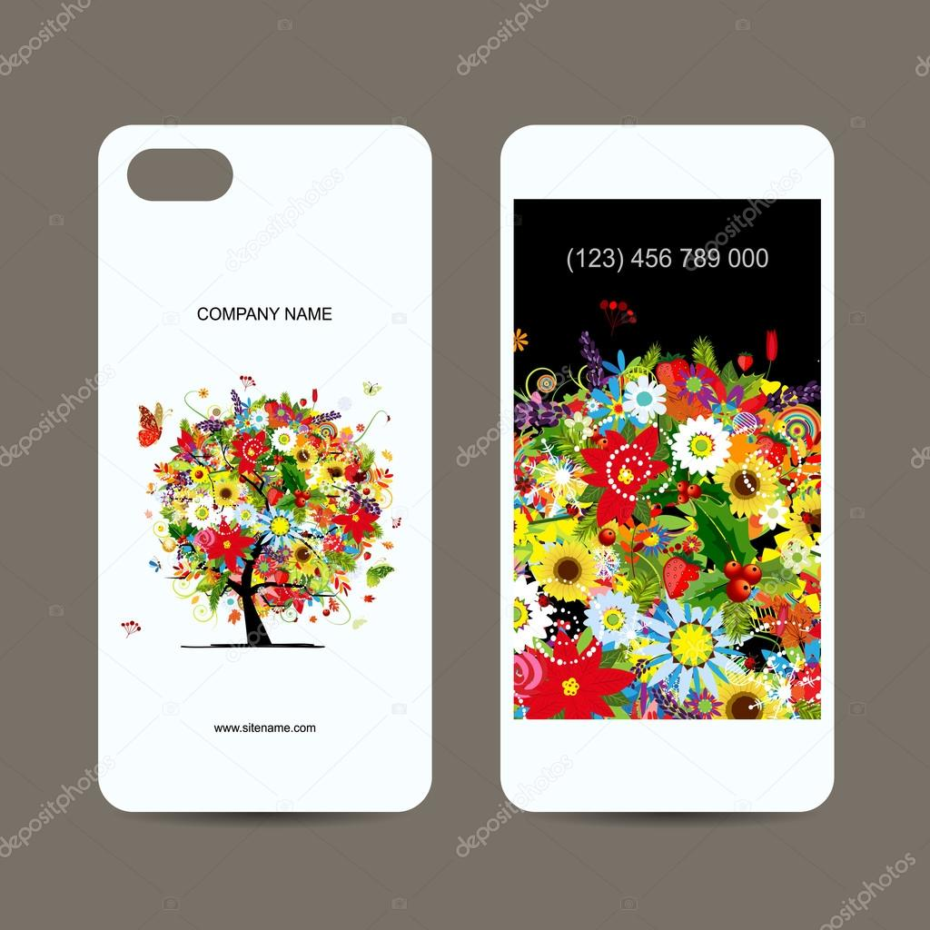 Mobile Phone Cover Back And Screen Floral Tree For Your Design Stock Vector Kudryashka