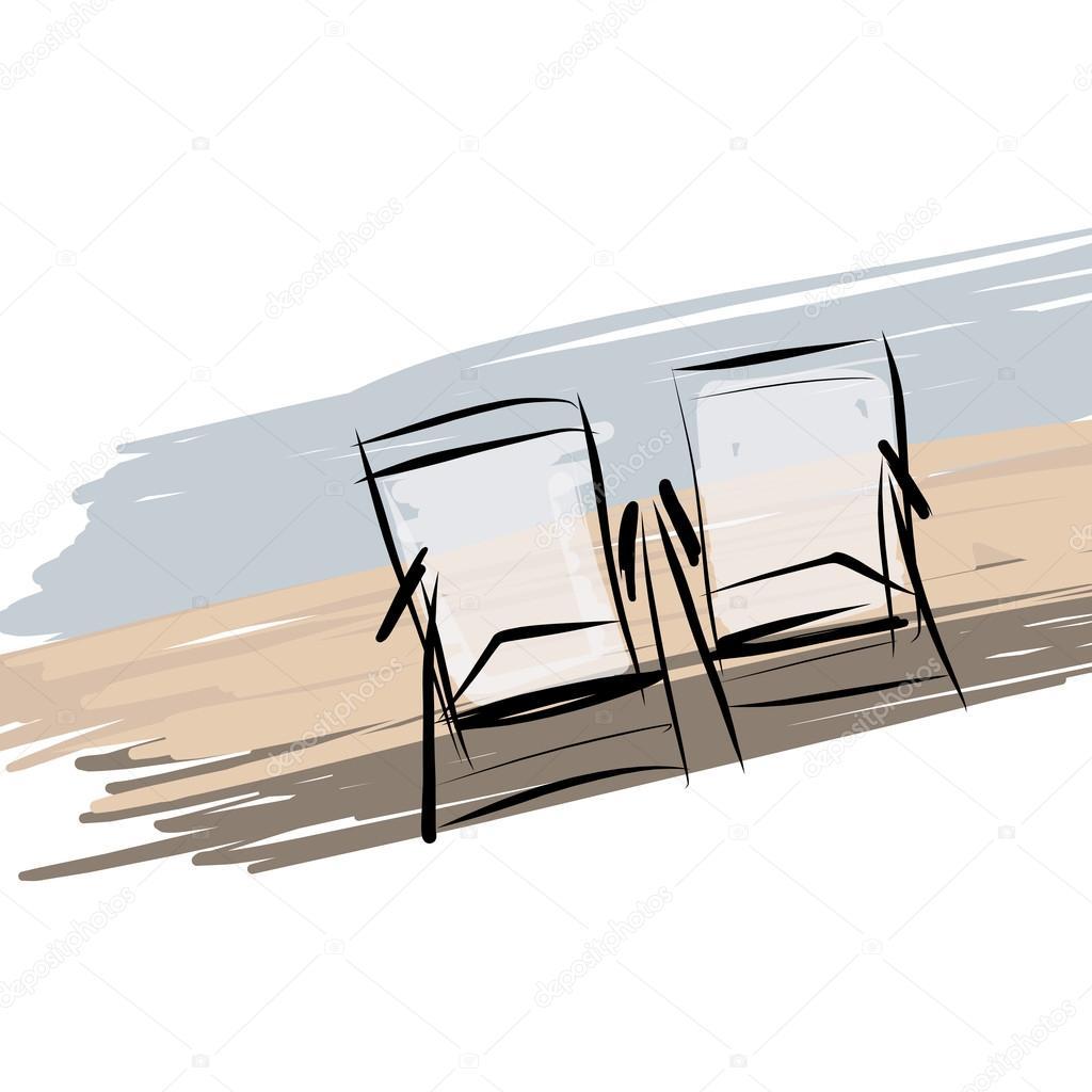 Due sedie a sdraio sulla spiaggia, schizzo per il vostro disegno ...