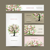 Projekt wizytówki z kwiatów drzewa szkic — Wektor stockowy