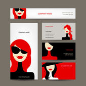 Business cards design with women faces — Stock Vector