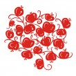 Floral ornamnet with red apples for your design — Stock Vector