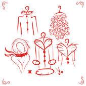 Coats on hangers, sketch for your design — Stock Vector
